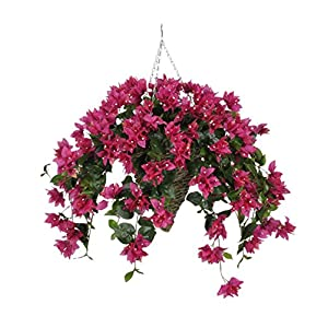 House of Silk Flowers Artificial Fuchsia Bougainvillea in Cone Hanging Basket 46