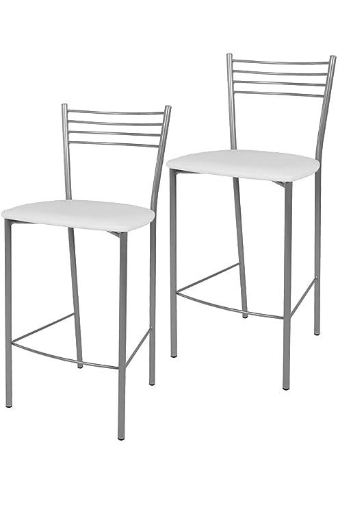 Sgabelli Alti Cucina.Tommychairs Set 2 Sgabelli Alti E Moderni Elena Per Cucina Bar E Sala Da Pranzo Con Struttura In Acciaio Verniciato Color Alluminio E Seduta