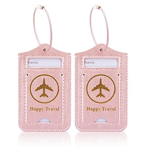 Luggage Tags, ACdream Leather Case Luggage Bag Tags Travel Tags 2 Pieces Set, Rose Gold ()