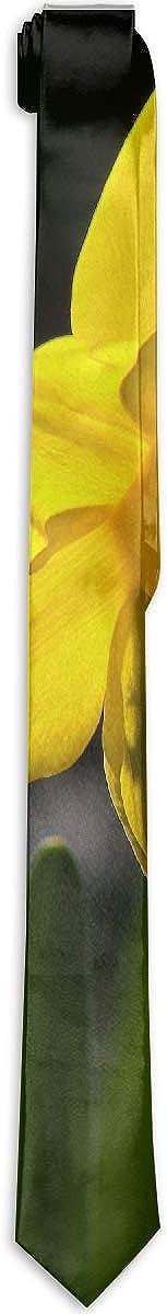 Ozark Backlit Daffodil Garden Bloom Flowers Mens Ties Polyester Yarn Printed Slim Skinny Ties