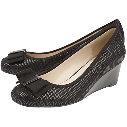 Shoes Peak 41 Print Wedge Court Ladies 8 UK Lotus EU Black 50841 Bow 0wCcSR5q