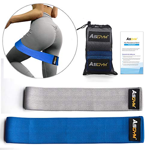 (Asgym Booty Resistance Bands for Legs and Butt, Non-Slip Thick Elastic Band Exercise, Heavy Fabric Fitness Loop Circle Workout for Women Men, Activate Glutes | Thighs Hip Bands Set of 2)