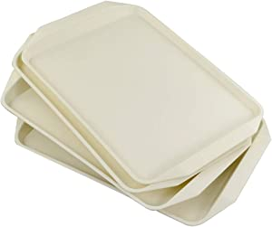 Utiao Plastic Fast Food Trays for Eating, 4 Packs(Cream)