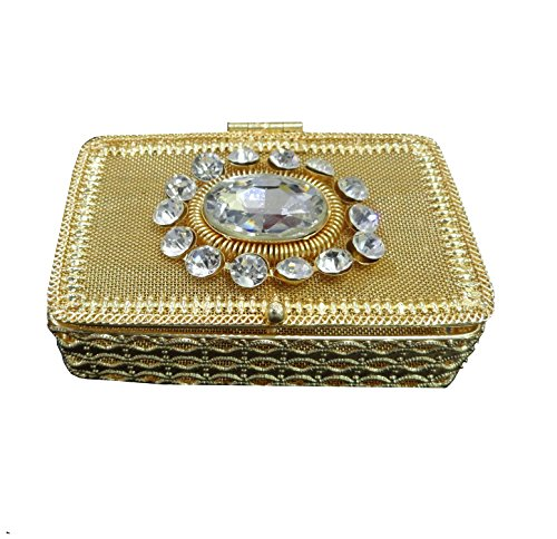 atorakushon Oval Crystal stone Gold Jewellery Box Jaipur style Metal and Beaded Decorative Box Keeps 12-16 Rings Earrings Jewellery Box Vanity Box Organizer Storage Box(Gold)