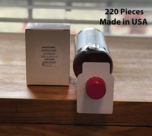 Blank wine bottle paper hang tags - 220 pieces - made in USA by Memory Cross (Image #2)