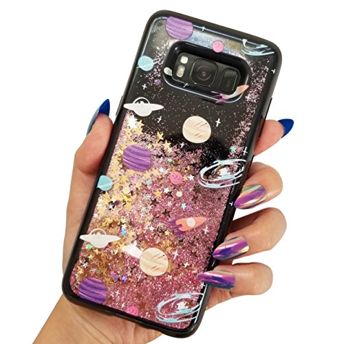 for Samsung Galaxy S8 Cute Black Floating Moon Stars Outer Space Liquid Waterfall Bling Glitter Soft Case