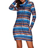 Dress for Women,Skirts with Pockets for Women Under 10,Women Long Sleeve Striped Print Above Knee Mini Dress Loose Party Dress Sundress