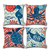 Carrie Home Marine Animal Octopus Decor Sea Turtle/Fish/Seahorse Decorative Square Pillow Covers 18 x 18 inch for Ocean Room, Set of 4