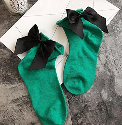 Sagton Women Harajuku Street Style Calze Di Cotone Con Cinturino Alla Caviglia Calze Della Squadra Con Bowknot Verde + Nero