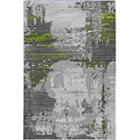 Zetta Transitional Abstract Green Contemporary Area Rug, 5 x 8