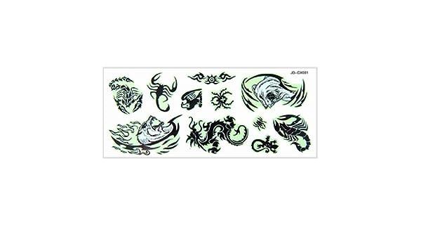 Sello tatuajes DealMux varios animales Negro Patrón noctilucentes ...