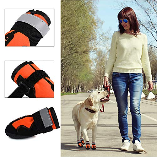 AOUPOU Dog Boots Waterproof Dog Shoes with Reflective Strap and Rugged Anti-Slip Sole | 4 Colors and 7 Sizes(size6,Orange)