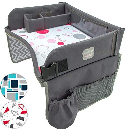 (Kenley Kids Travel Tray, Toddler Car Seat Lap Tray, 16.5 x 13.5 Inches, Pink)