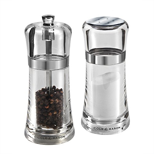 Cole & Mason Fontwell Shaker & Pepper Grinder Gift Set - Acrylic Mills Include Premium Sea Salt and Peppercorns
