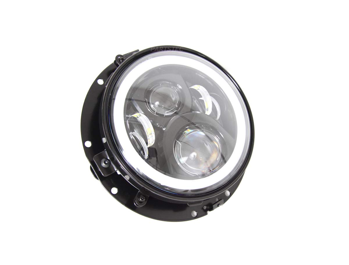 motorpower 7インチ LED ヘッドライト トリムリング付 セット ブラック 固定ブラケット ドレスアップパーツ B07GSQD3T1