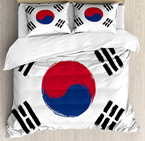 Korean Flag Duvet Cover Set Queen Size,South Korea Country Concept Grunge Painting,Bedding Cover Set 100% Cotton Boys Girls For Children Teens,Coconut Dark Pink Night Blue And Charcoal Grey