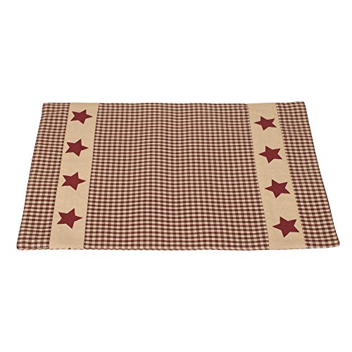 The Country House Collection Colonial Burgundy Gingham Plaid 13 x 19 All Cotton Placemat Pack of 4