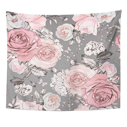 Emvency Tapestry Pink Flowers and Leaves on Gray Watercolor Floral Pattern Home Decor Wall Hanging for Living Room Bedroom Dorm 50x60 Inches