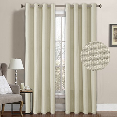 H.Versailtex Classical Grommet Top Room Darkening Thermal Insulated Heavy Weight Textured Tiny Plaid Linen Like Innovated Extra Long Curtains&Drapes,52 by 108 Inch-Ivory White (1 Panel)