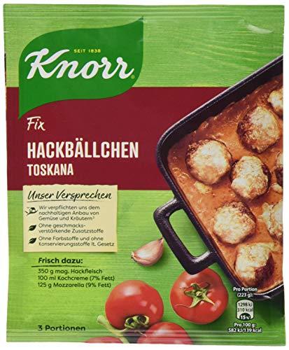 Knorr Fix Würzbasis (für eine schnelle Zubereitung Hackbällchen Toskana ohne Farbstoffe) 3 Portionen