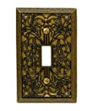 Amerelle 65TAB Filigree Cast Metal Toggle Wallplate, Antique Brass by Amerelle