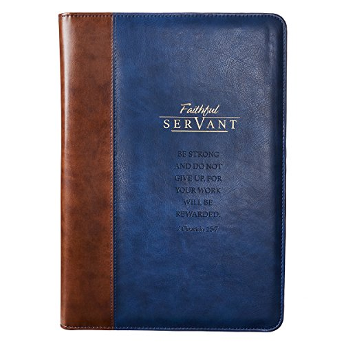 Vintage Leather Look Jeremiah Verse Bible Book Cover Large: Faithful Servant Legal Size Zippered Portfolio, Blue And Brown