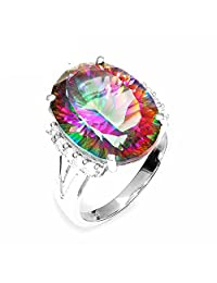 GOMORINGS Rings Antique 11.45ct Rainbow Fire Mystic Topaz Oval Cut Solid 925 Sterling Silver Classic Jewellry