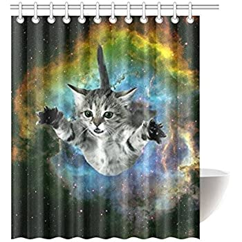 InterestPrint Star Galaxy Outer Space Nebula Universe Funny Cat Waterproof Polyester Fabric Bathroom Shower Curtain 60