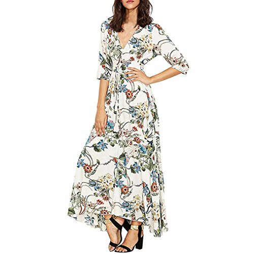 Pleated Crossover (CieKen Ladies Summer Dress, Sexy Women Long Bohemia Half Floral Print Beach Party Casual Dress White S-XL (S))