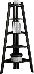 Furniture of America LYSS Contemporary 5 Tier Wooden Corner Ladder Shelf, Black