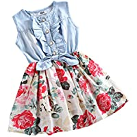 Mingao Little Girls Denim Floral Print Sleeveless Skirt Dresses