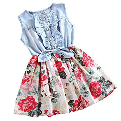 MingAo Little Girls Denim Floral Print Sleeveless Skirt Dresses 5-6 Years