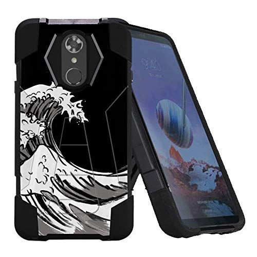 TalkingCase Phone Case for LG Stylo4,Stylo4 Plus,Black Premium Double-Layer Armor Case,Ruggedized with Kickstand,Handpaint Japanese Waves Print, Designed and Printed in USA