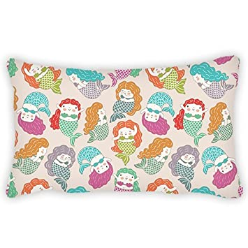 Polyester Pillow Cover Cartoon Cute Little Mermaid Bolster Throw Pillow Case Cushion Cover for Kids Bedroom Couch Sofa Home Decorative 12x20 inches ElijahToby lushiwei2784