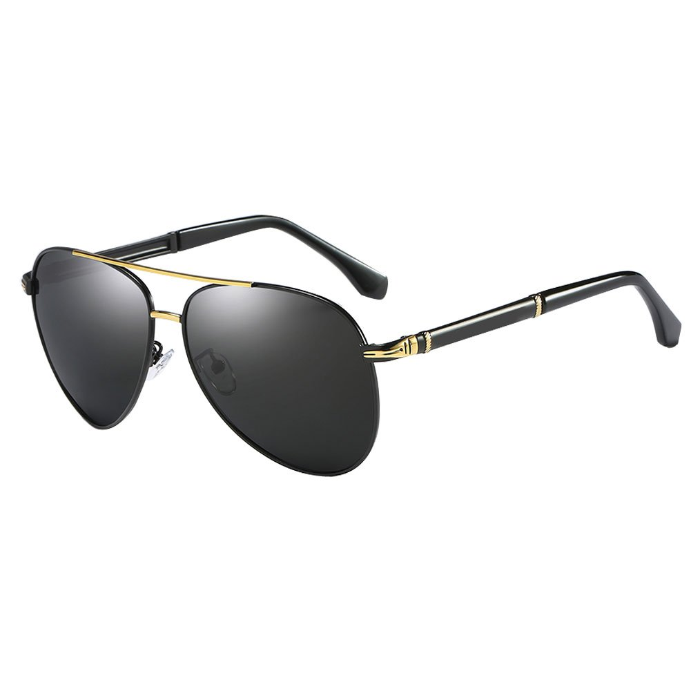 deb01c4657 WESHION Classic Polarized Sunglasses For Women Men Oval Alloy Frame (Black gold)   Amazon.co.uk  Clothing