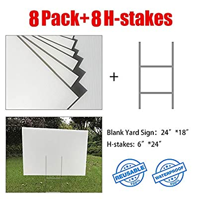 "MEJOR CONOCIDO 8 Pack 24""x18"" White Blank Lawn Yard Signs Corrugated Plastic Sheet with Durable H-Stakes, Opening Business, Garage Rent, House Sale, Political Election Sign"