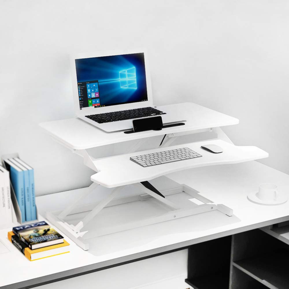 LIULIFE Laptop Stand for Desk Sit Stand Height Adjustable Desk Computer Workstation Standing Desk Converter with Keyboard Tray,White-WithKeyboardBoard by LIULIFE (Image #6)