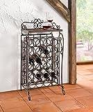 """Wine Bar """"In Vino Veritas"""" – Metal Rack painted in Dark Brown, hold 20 bottles Product SKU: HD222059"""
