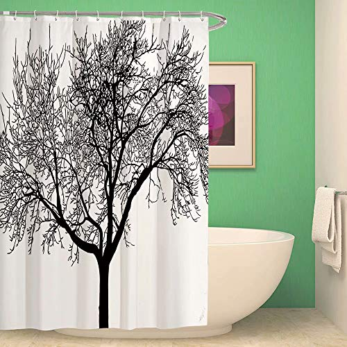 ATOLY Mocha Tree Silhouette ?Hotel Shower Curtain Curtain 48