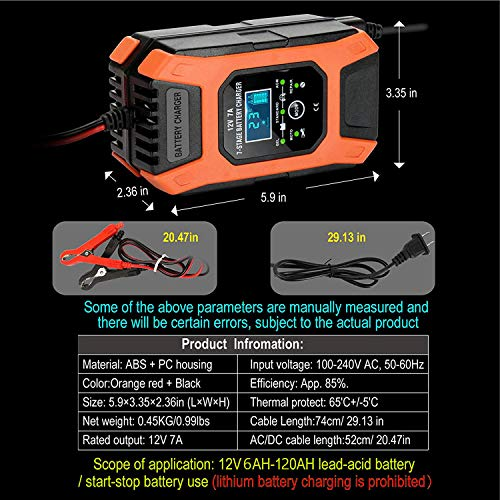 Luoges Car Battery Charger 12V 7A | New Upgrade 7-Stage Automatic Pulse Repair Battery Charger & Maintainer for ATVs/Golf Cart/Motorcycle/Car/Yacht Mower and More (Orange Red)