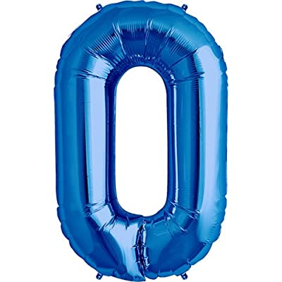 Number 0 - Blue Helium Foil Balloon - 34 inch: Toys & Games