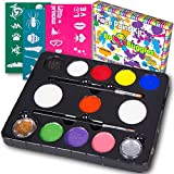 Bo Buggles Face Paint Kit with 30 Stencils, 9 Paints + 2 Glitters Original Buggly Kit for Kids: Large 4 Gram Professional Paints, 2 Brushes, 2 Sponges. Pro-Quality Non-Toxic Face Painting Palette