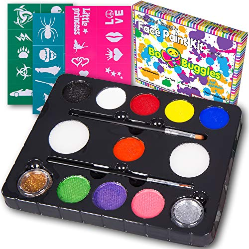 Bo Buggles Face Paint Kit with 30 Stencils, 9 Paints + 2 Glitters Original Buggly Kit for Kids: Large 4 Gram Professional Paints, 2 Brushes, 2 Sponges. Pro-Quality Non-Toxic Face Painting Palette ()