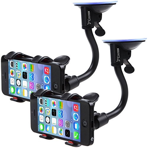 Car Mount, Costech Soft Tube Universal Windshield Dashboard GPS Stand Bracket Holder Clamp for Iphone,Samsung Galaxy ,Other 3.5-6.3In Smart Phone (2 Pack)