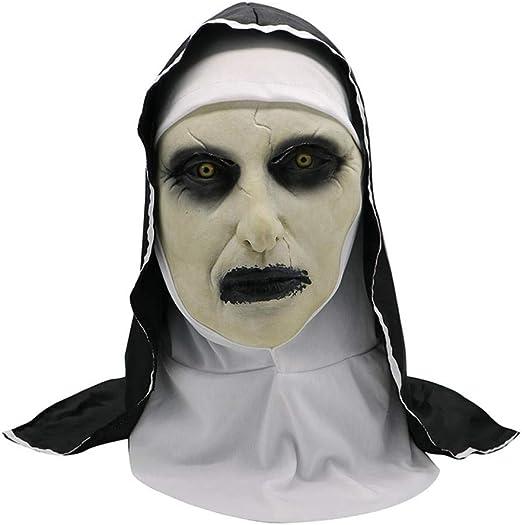 wnddm Disfraz de Terror Monja Máscara Ropa de Halloween Scary ...