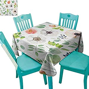 """longbuyer Anemone Flower,Printed Tablecloth,Set of Floral Elements in Aquarelle Style Artistic Nature Foliage Botany,36""""x36"""",Suitable for Kitchen, dustproof Desktop Decoration 100"""