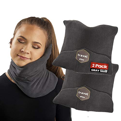 iPrimio Travel Pillow for Men and Women - Soft Adjustable Comfort Support for Head, Neck and Chin Support - Lightweight (2 Pack Gray)