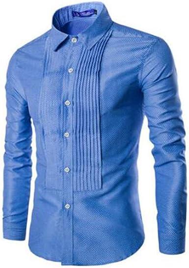 Hombre Camisa de Vestir Manga Larga Spot Camisa Plisada ...