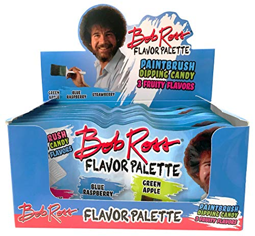 Bob Ross Flavor Palette Paintbrush Dipping Candy 3 Fruity Flavors, 18 Count Display Pack (Candy Paintbrush)