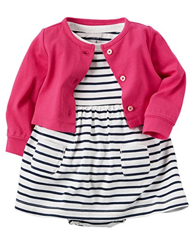 Carter's Baby Girls' Flutter Sleeve Striped Dress 3 Months (Striped Flutter Sleeve Dress)